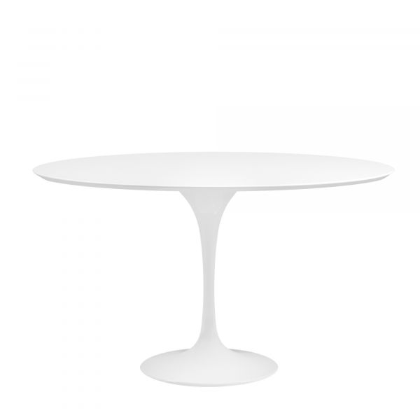SAARINEN OVAL TULIP TABLE OR ROUND TABLE SYNTHETIC MARBLE ABSOLUTE WHITE