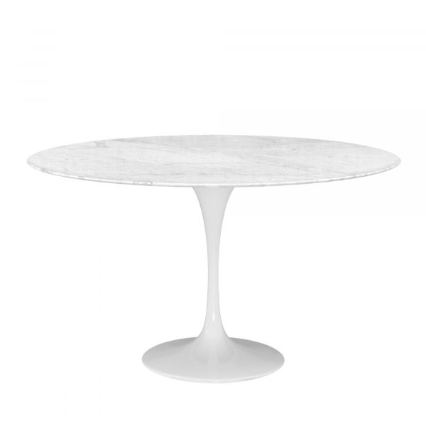 OVAL TULIP TABLE OR ROUND TABLE MARBLE CARRARA WHITE
